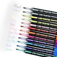 12 couleurs/ensemble Double ligne stylo métallique paillettes couleur contour Art marqueur stylo Album de bricolage stylos de marquage pour peinture fournitures scolaires