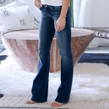 Women Hole Ripped Flare Jeans Slim Denim Trousers Vintage bell bottom jeans autumn High Waist Pants wide leg jeans plus size 4XL цены онлайн