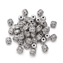 50pcs Tibetan Style Barrel beads for jewelry making 6mm Lead Free & Nickel Cadmium Free,Antique Color,hole:2mm