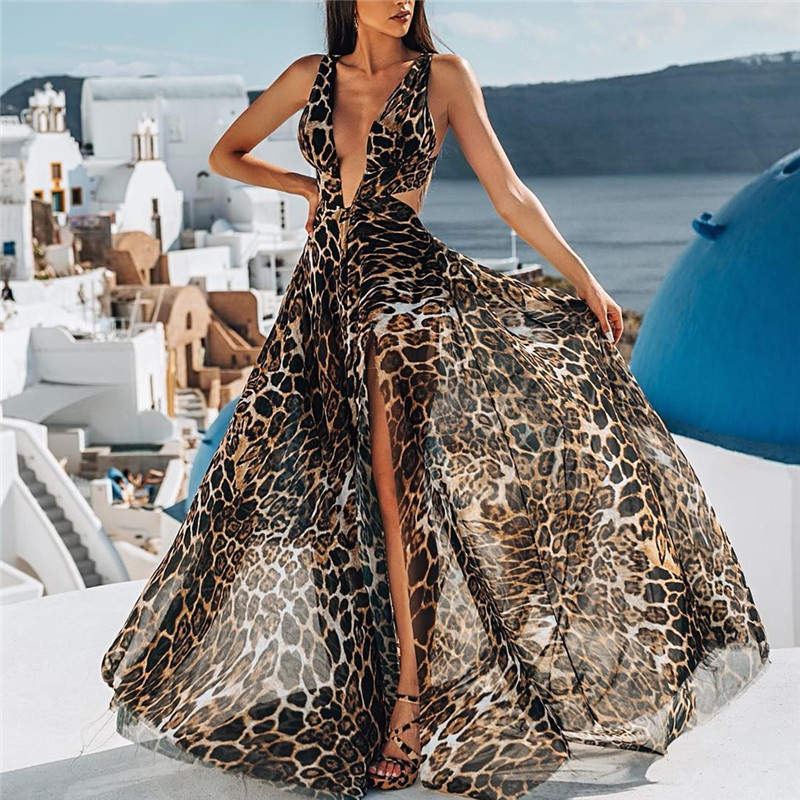 Sexy dresses party night club Leopard Strap Dress deep V-Neck Sleeveless high waist Split Maxi Dress Floor-Length Women vestidos