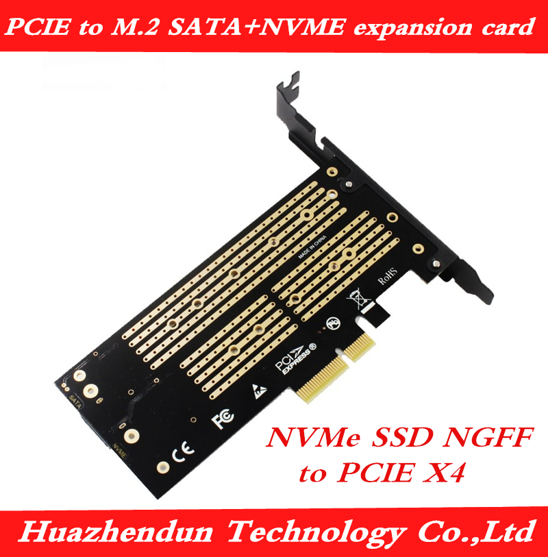 Pcie para Sata + Nvme Dual-cartão de Expansão de Disco Adaptador de Cartão Nvme Ngff Pcie Tecla m Plus b Cartão Chave Interface Dupla M.2 x4 Ssd