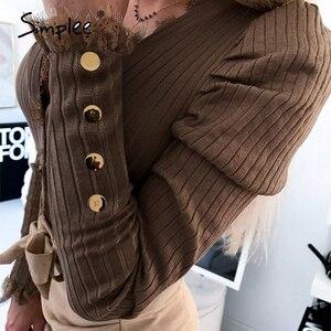 Image 4 - Simplee, blusa informal de punto con botones de primavera para mujer, blusa Sexy de encaje para club, blusa femenina de punto, blusas de talla grande para mujer