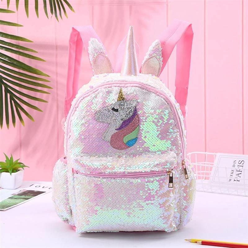 Girls Sequins Unicorn Backpack Fashion Glitter School Bookbag Satchel for Girls Sparkle Mermaid School College Bag Pink