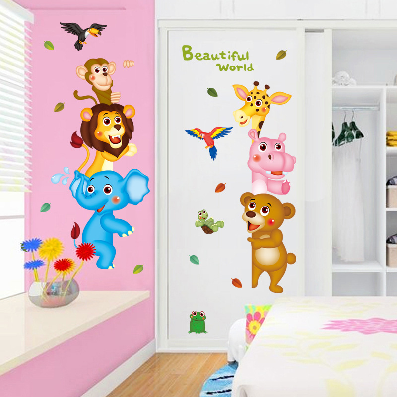 3d Cute Animals Cartoon Door Stickers For Kids Room Bedroom Home Mural Art Diy Safari Wall Decal Lion Elephant Monkey Decoration