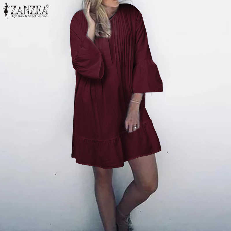 2020 여름 해변 Sundress ZANZEA 여성 미니 드레스 패션 코튼 짧은 Vestidos Pleated 긴 셔츠 Vestido Kaftan 가운 Femme