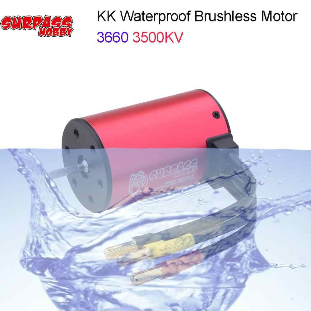 Serie KK impermeable 3660 2600KV 3500KV 4200KV Motor de eje sin escobillas de 3.175mm y 60A 80A ESC con Combo de disipador térmico para coche 1/10 RC