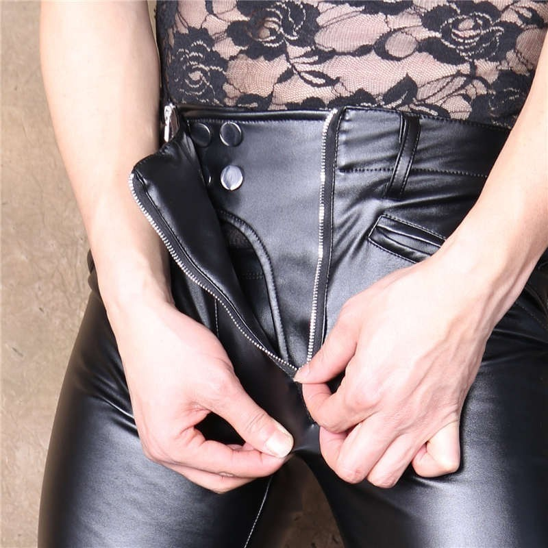High Elasticity Skinny Pu Leather Men Pencil Pants Motorcycle Biker Gothic Double Zippers Proctective Crotch Pants Long Trousers