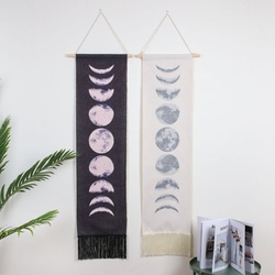 Czarny biały gobelin kosmiczna ściana krajobrazowa gobelin do zawieszenia dziewięć cykli wzrostu księżyca śpiąca Tapestrys Home Decoration w Dekoracyjne gobeliny od Dom i ogród na