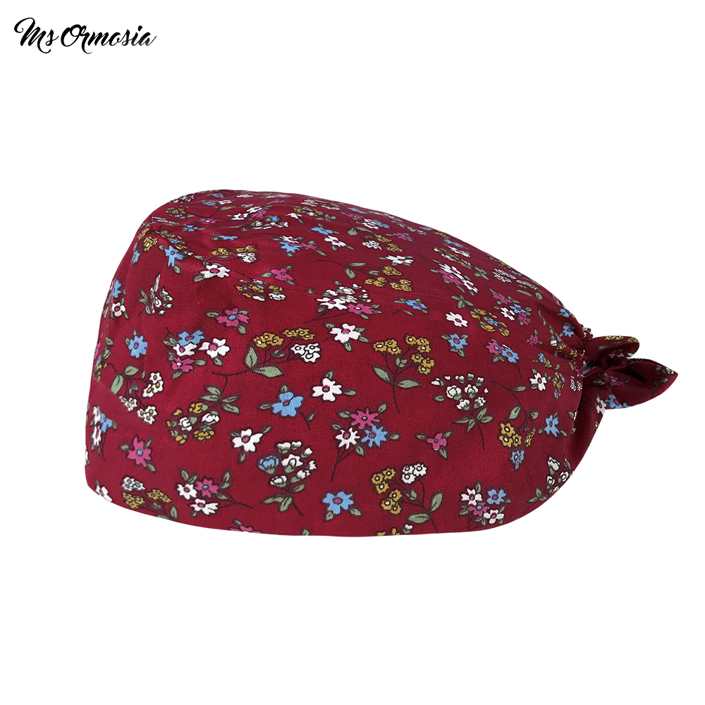 pet store work Lab scrub cap high quality Floral print Beauty spa clean work Health Service Center essential Sanitary scrub hat
