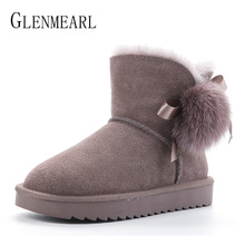 Купить с кэшбэком Luxury Women Snow Boots Genuine Leather Australia Classic Woman Boots Real Fur Wool Winter Shoes Warm Ankle Boots Platform Plus
