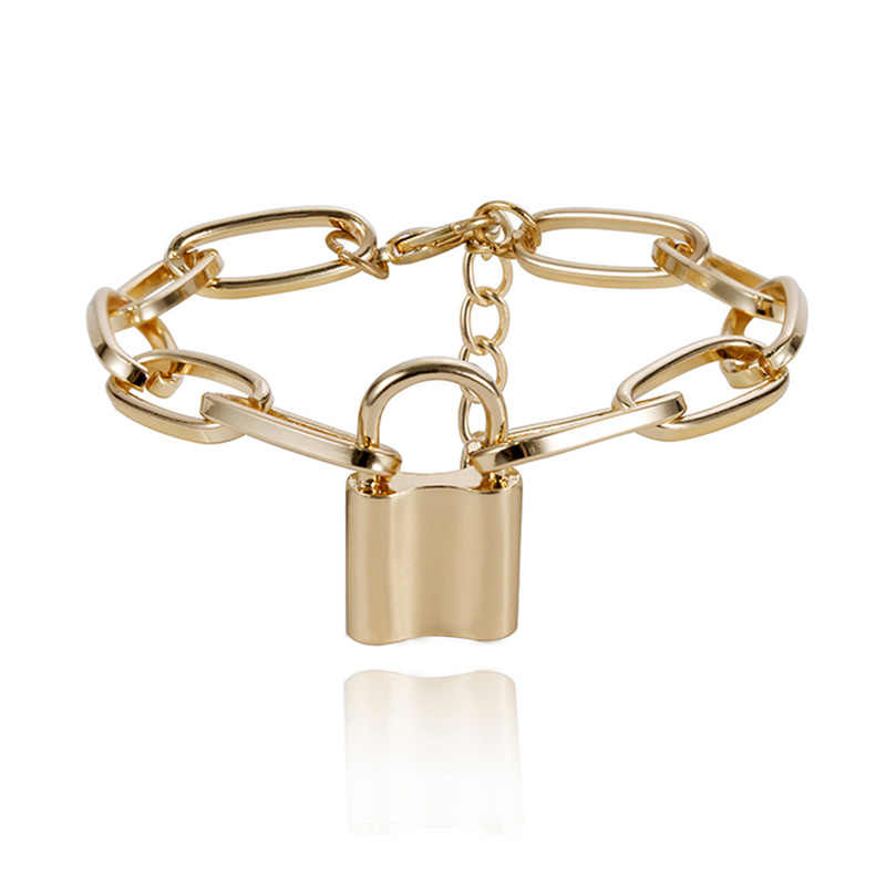 جديد الشرير الفضة الذهب اللون عاشق قفل سلسلة سوار المرأة سحر الكفة الإسورة معصمه النساء المجوهرات هدية