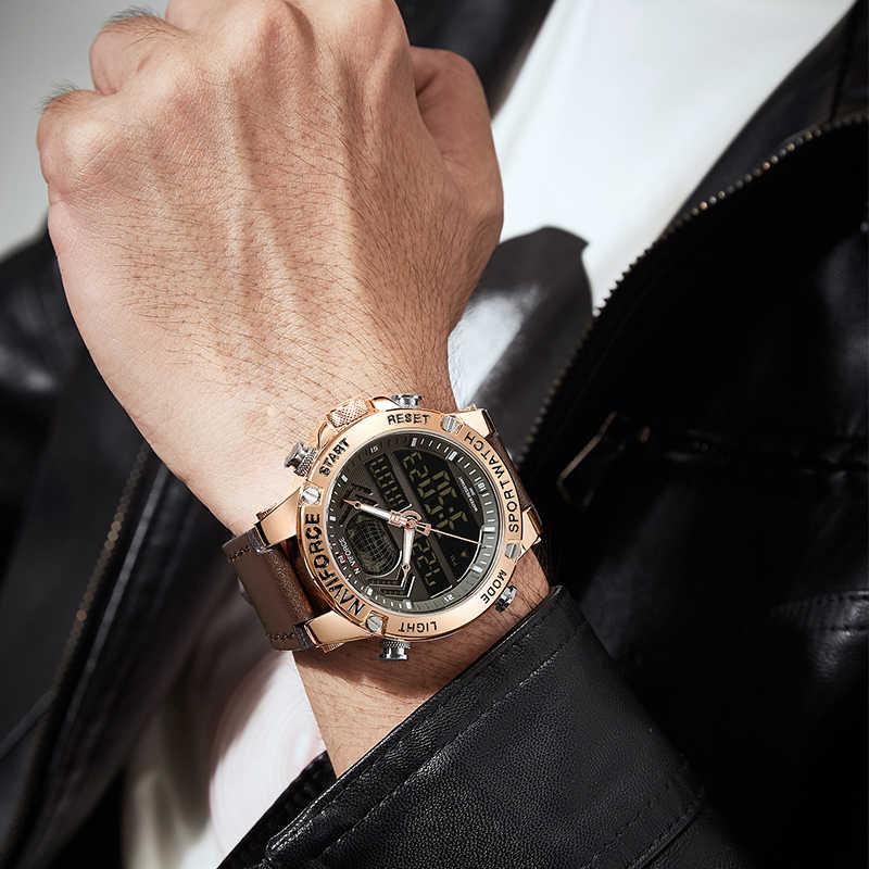 NAVIFORCE новые мужские часы Топ люксовый бренд кожа водонепроницаемые мужские спортивные часы кварцевые аналоговые цифровые часы мужские Relogio Masculino
