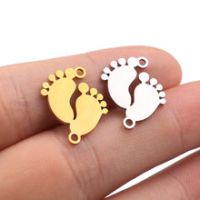 5Pcs Charm Pendants Cute Lovely Baby Feet Gold/steel DIY Metal Bracelet Necklace Charm for Jewelry Making DIY Handmade Craft(China)