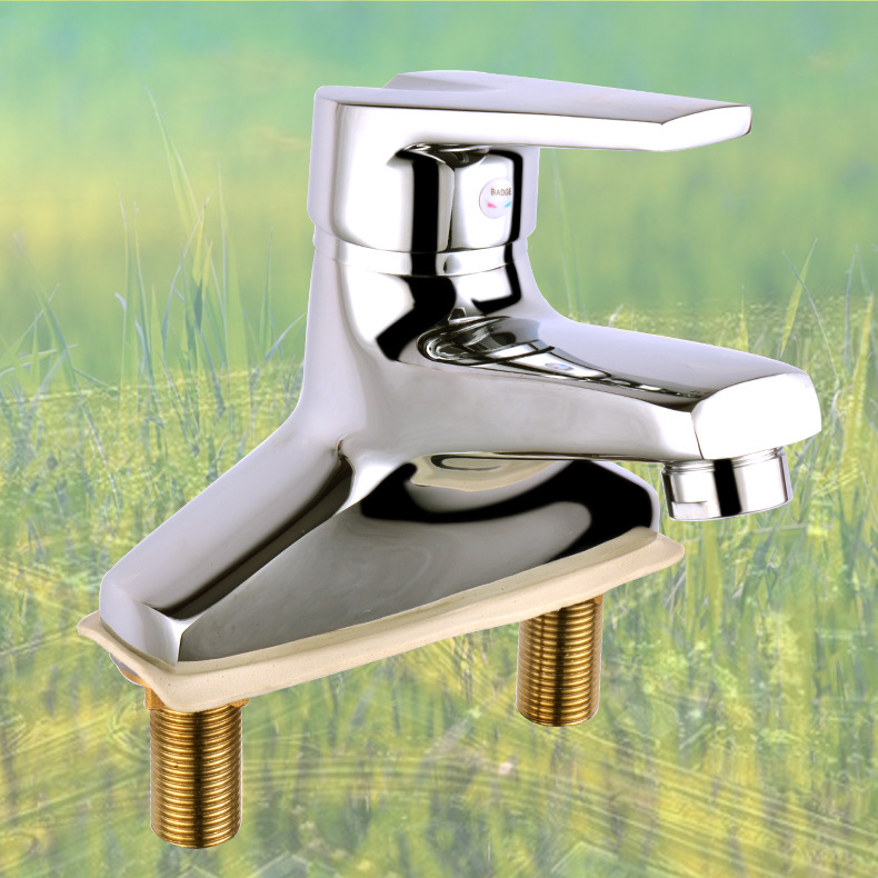 Copper Diplopore Single Handle Hot And Cold Faucet Basin Faucet 3-hole Wash Basin Drop-in Sink Tap