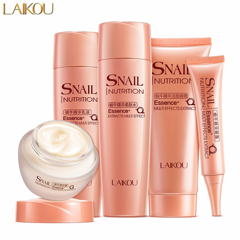 Laikou 5pcs/lot Snail Repair Skin Care Set Facial Cleanser Face Moisturizing Cream Toner Lotion Eye Cream Anti Aging Wrinkles To Be Renowned Both At Home And Abroad For Exquisite Workmanship, Skillful Knitting And Elegant Design