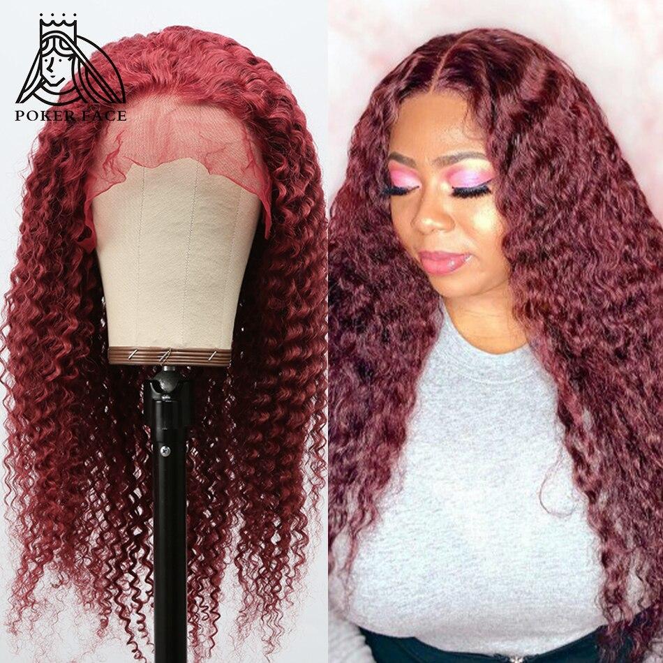 В стиле «Poker Face 10 28 дюймов вьющиеся волосы 13X1 часть кружево парики из натуральных волос на кружевной Цветной 99j бордовый фронтальной парик бр...