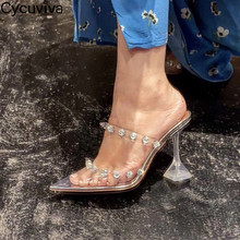 Crystal Shoes Sandals Studded Mules Transparent Woman High-Heel Sexy Clear Runway PVC