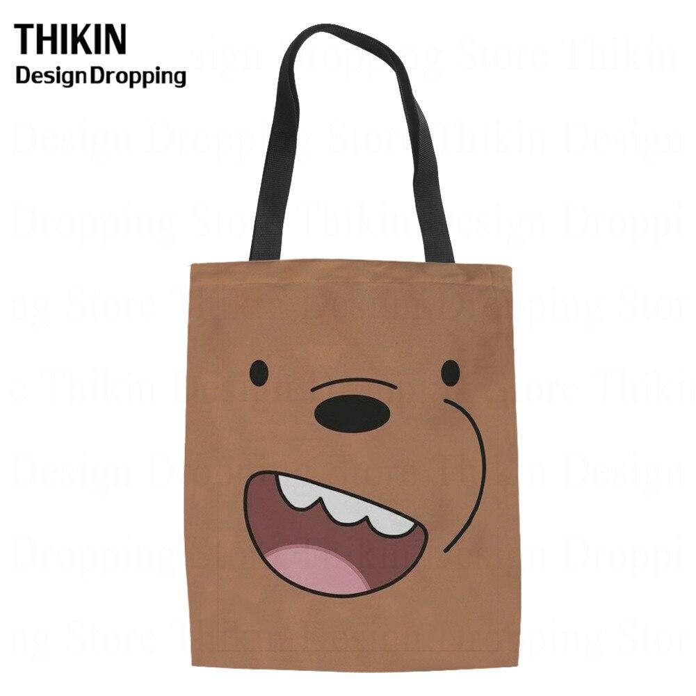 THIKIN Kwaii Three Naked Bears Pattern Student Canvas Tote Cute Cartoon Shopping Bags For Teenager Girls Shopper Bolsa Tela Lino