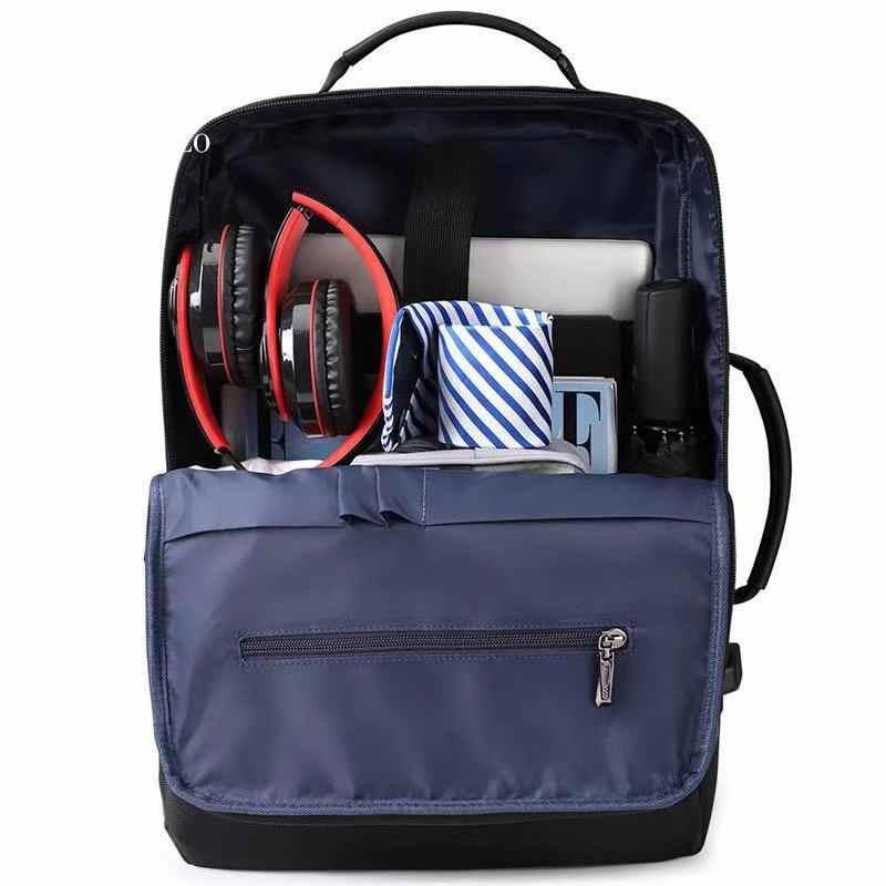 남자 비즈니스 배낭 숨겨진 된 포켓 도난 방지 배낭 방수 노트북 배낭 남자 가죽 USB 충전