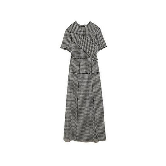 Kuzuwata Chic Wooden Ear Patchwork Pleated Women Dress 2021 Spring Summer Drawstring Vestidos New High Waist Plaid Dresses 5