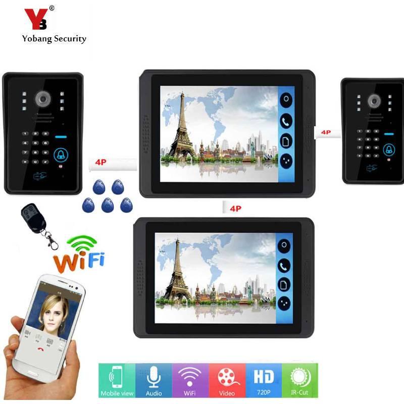 7 Inch Wired/WIFI Smart IP Video Deurbel Intercom Systeem Met 2 Monitor + 2 Night Vision Camera