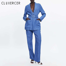 Office Lady Blue Suit Women Two Piece Set Notched Collar Sin