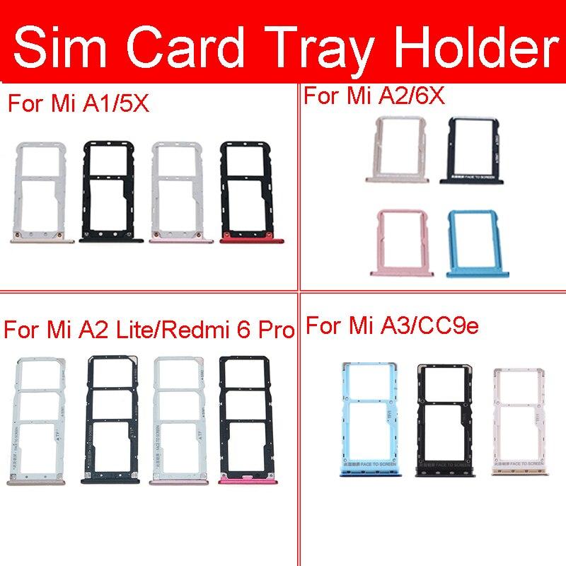 Sim Card Tray Socket For Xiaomi Mi A1 A2 Lite A3 Mi 5X 6X CC9e Sim Micro Reader Card Adapters Holder For Redmi 6 Pro