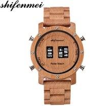 Shifenmei Watches Men Luxury Brand Drum Roller Military Sports Wooden Quartz Wristwatches Relogio Masculino 5582
