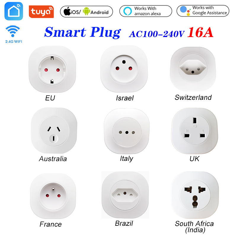 16A Tuya WIFI Smart life Socket UK EU AU Swit BR FR Israel Ita ZA Plug  Remote Control Smart Work For Alexa Google Assistant