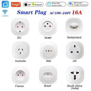 цена на 16A Tuya WIFI Smart life Socket UK EU AU Swit BR FR Israel Ita ZA Plug  Remote Control Smart Work For Alexa Google Assistant