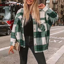 BerryGo Casual plaid shirt women tweed coat Buttons pockets female jacket coat S