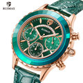 RUIMAS Damen Casual Uhren Luxus Grün Leder Quarzuhr Frauen Chronograph Uhr Top Marke Relogio Feminino Uhr Mädchen 592
