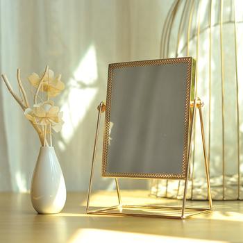 Światło Retro luksusowe europejskie metalowe złote lustro do makijażu na blat domu kwadratowe okrągłe lustra ozdobne WJ527 tanie i dobre opinie CN (pochodzenie) Oprawione 9870 Szkło