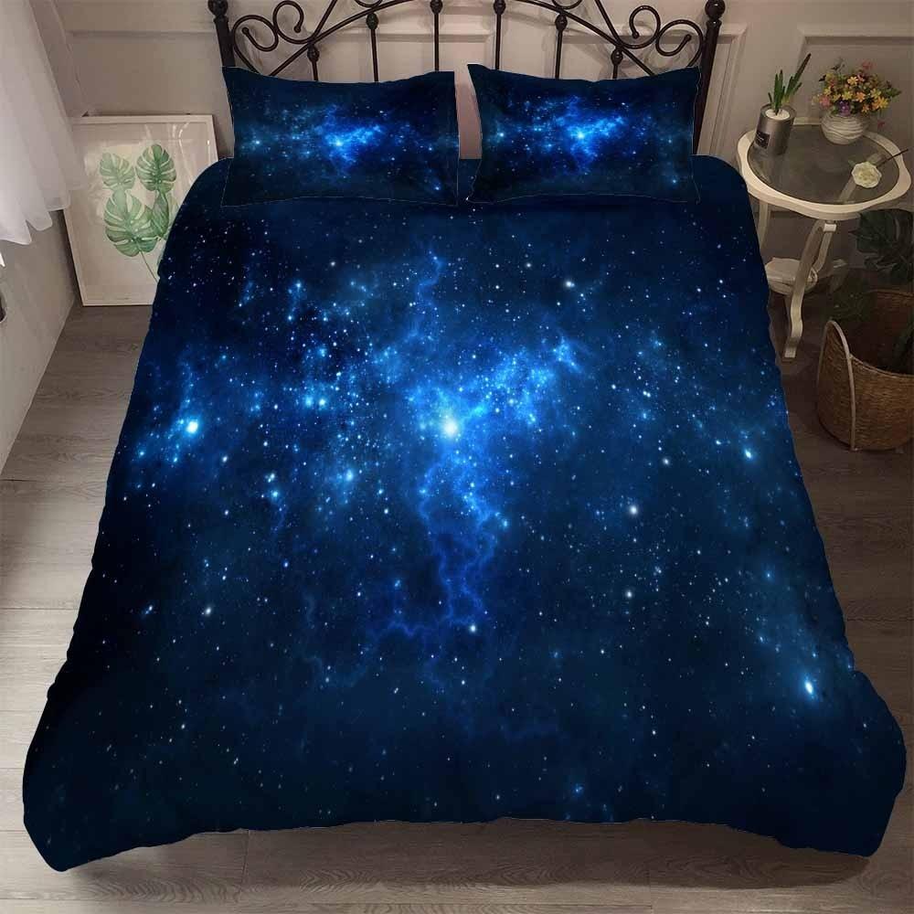 Universe Outer Space Galaxy Bedding Set Duvet Cover Set Pillowcase King Double Single Bed Linen Bedclothes Children Boys Gift