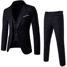 (Jacket+Pant+Vest) Slim Suit Male 2019 Spring Autumn Thin Se