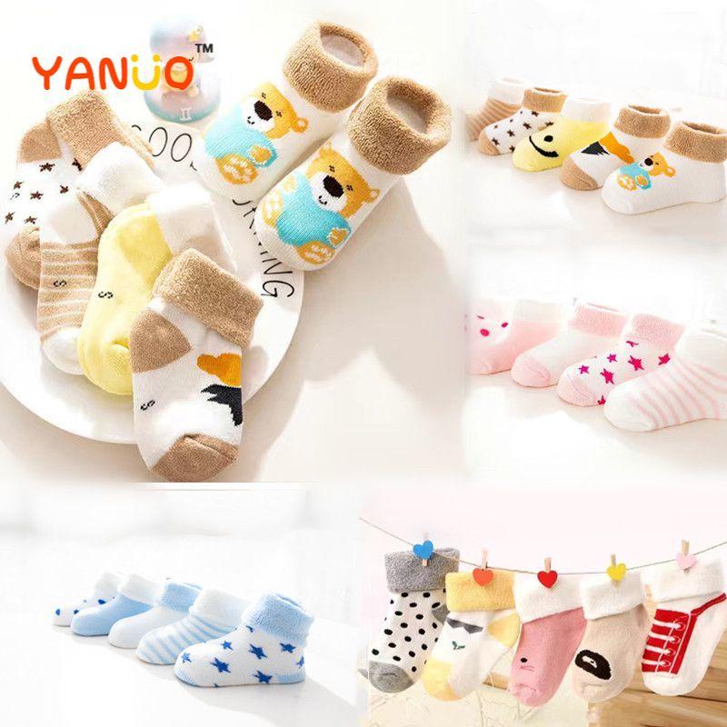 Детские носки, 5 пар, высокое качество, утепленные комфортные Носки из хлопка для новорожденных маленьких мальчиков носки для новорожденных...