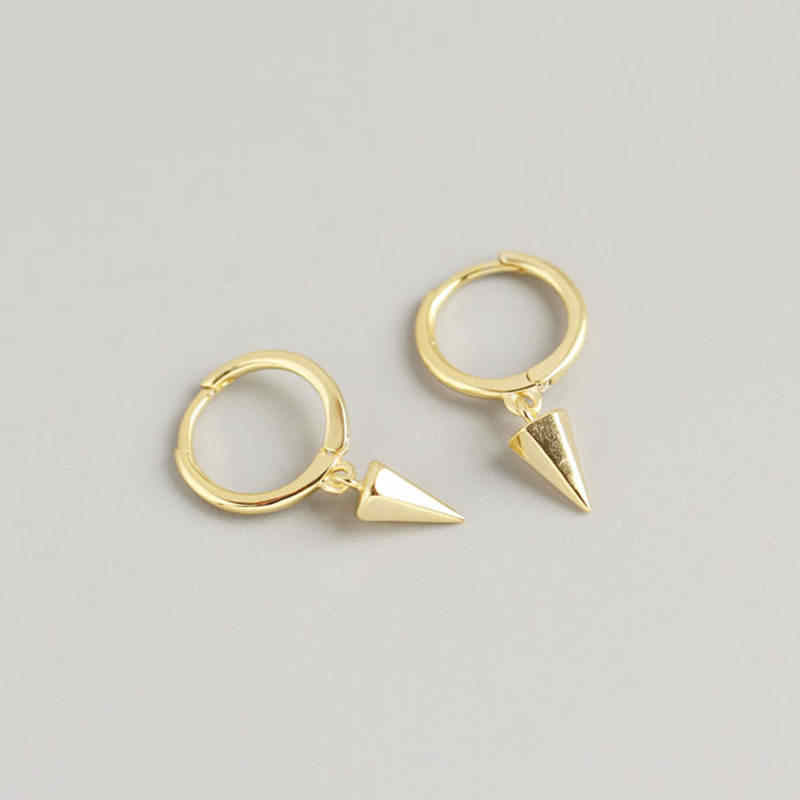Inzatt Nyata 925 Sterling Perak Geometris Anting-Anting Hoop untuk Fashion Wanita Pesta Perhiasan Minimalis Punk Aksesoris