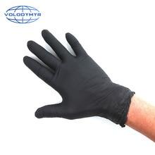 Volodymyrニトリル手袋黒 100 ピース/ロット防水食品グレード使い捨て作業アレルギー送料安全メカニックニトリル手袋