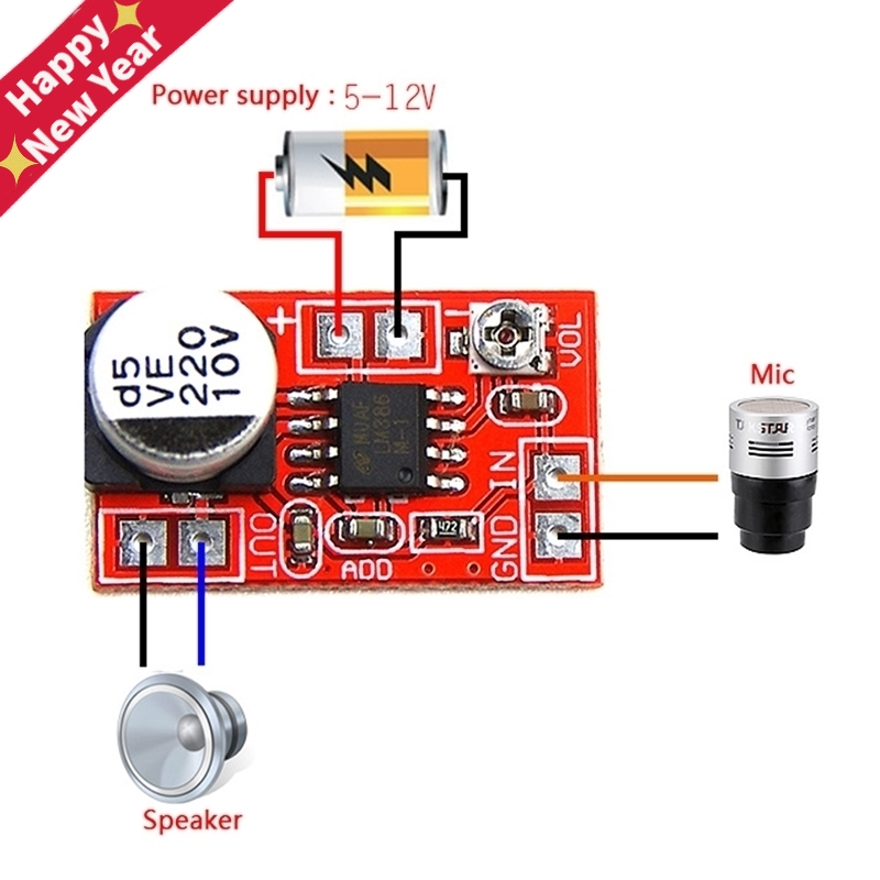 DC 5V-12V Micro Electret Amplifier MIC Condenser Mini Microphone Amplifier Board