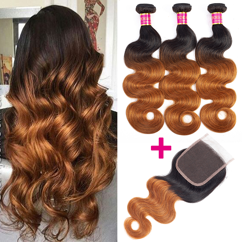 TODAY ONLY Body Wave Bundles With Closure Brazilian Hair Weave Bundles With Closure Remy Ombre Bundles With Closure 3 Bundles