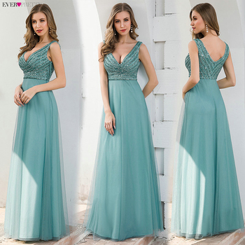 Elegant Blue Evening Dresses Ever Pretty EP00774DB A-Line V-Neck Sequined Sleeveless Tulle Party Gowns Vestido Largo Elegante 5