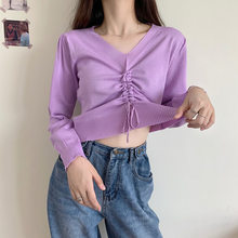 Knitted V Neck Drawstring Women Short Pullovers Solid Long Sleeve Lady Sweet Crop Tops 2020 Autumn Female Knitwear Jumpers(China)