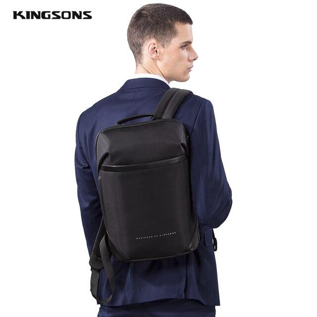 Kingsons magro computador portátil mochila homens 15.6 polegada trabalho de escritório homens mochila de negócios unisex preto ultraleve mochila fina 6