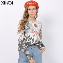 XIKOI Women Winter O-Neck Print Pink Sweaters Jump