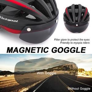Image 4 - Victgoal Fahrrad Helm LED Moutain Straße USB Aufladbare Licht Radfahren Helm Für Mann Sonnenblende Goggles Männer MTB Bike Kopfbedeckungen