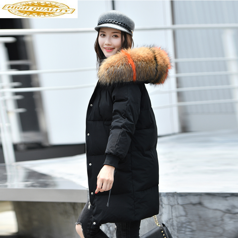 Winter Coat Women Clothes 2019 Down Jacket Woman Hooded Long Coats Raccoon Fur Collar Parka Korean Abrigo Mujer MY1505
