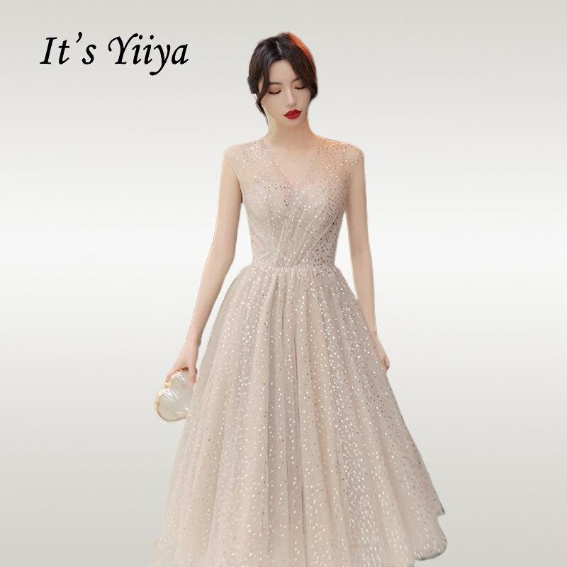 It's Yiyya   Prom     Dress   Elegant V-neck Shining Short Vestidos De Gala Pleat Sequin Plus Size Women Party Night   Dresses   E723