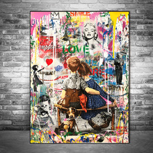 Work Well Together Graffiti Art Canvas Posters And Prints Street Art Canvas Paintings on the Wall Art Pictures Home Wall Decor недорого