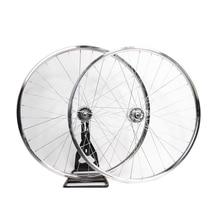 700C llanta de bicicleta fixie llanta de bicicleta con neumáticos de plata 20mm rueda de una sola velocidad bicicleta de engranaje fijo de la bicicleta de aleación de aluminio
