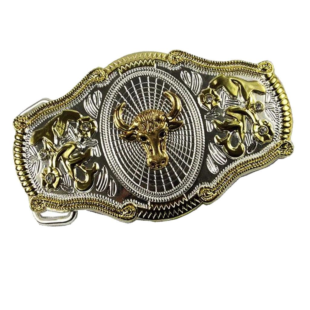 Antique Belt Buckle Head Mens Gold Alloy Metal Western Cowboy Motorcyclist Belt Buckle Zinc Alloy Tauren Bull Head Belt Buckle